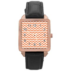 Orange And White Zigzag Rose Gold Leather Watch