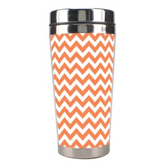Orange And White Zigzag Stainless Steel Travel Tumbler by Zandiepants