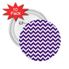 Purple And White Zigzag Pattern 2 25  Button (10 Pack) by Zandiepants