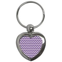 Purple And White Zigzag Pattern Key Chain (heart) by Zandiepants