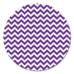 Purple And White Zigzag Pattern Magnet 5  (round) by Zandiepants