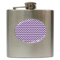Purple And White Zigzag Pattern Hip Flask by Zandiepants