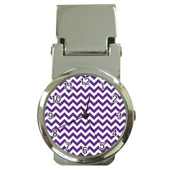 Purple And White Zigzag Pattern Money Clip With Watch by Zandiepants