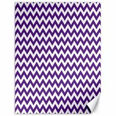 Purple And White Zigzag Pattern Canvas 18  X 24  (unframed) by Zandiepants