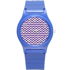 Purple And White Zigzag Pattern Plastic Sport Watch (small) by Zandiepants