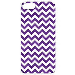 Purple And White Zigzag Pattern Apple Iphone 5 Classic Hardshell Case by Zandiepants