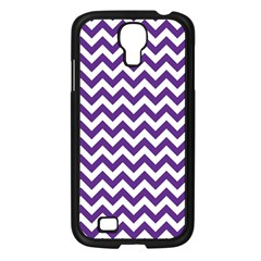 Purple And White Zigzag Pattern Samsung Galaxy S4 I9500/ I9505 Case (black) by Zandiepants