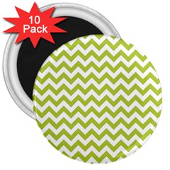 Spring Green And White Zigzag Pattern 3  Button Magnet (10 Pack) by Zandiepants