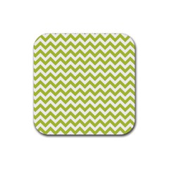 Spring Green And White Zigzag Pattern Drink Coasters 4 Pack (square) by Zandiepants