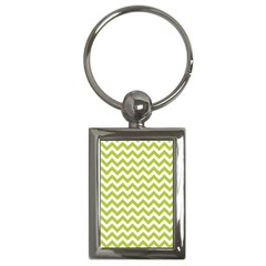 Spring Green And White Zigzag Pattern Key Chain (rectangle) by Zandiepants