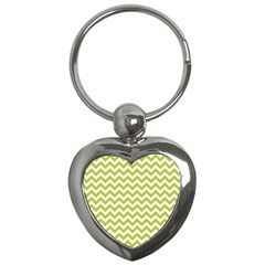 Spring Green And White Zigzag Pattern Key Chain (heart) by Zandiepants