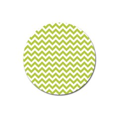 Spring Green And White Zigzag Pattern Magnet 3  (round) by Zandiepants