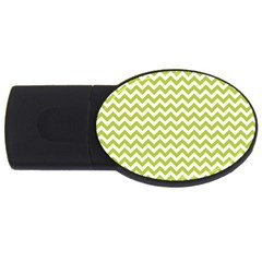 Spring Green And White Zigzag Pattern 2gb Usb Flash Drive (oval) by Zandiepants