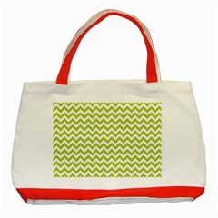 Spring Green And White Zigzag Pattern Classic Tote Bag (red) by Zandiepants