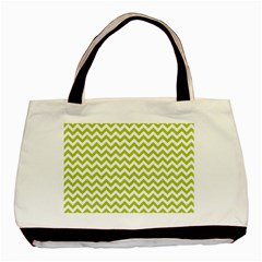 Spring Green And White Zigzag Pattern Twin Sided Black Tote Bag by Zandiepants
