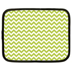 Spring Green And White Zigzag Pattern Netbook Sleeve (large) by Zandiepants