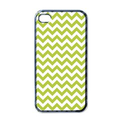 Spring Green And White Zigzag Pattern Apple Iphone 4 Case (black) by Zandiepants