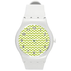 Spring Green And White Zigzag Pattern Plastic Sport Watch (medium) by Zandiepants