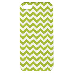 Spring Green And White Zigzag Pattern Apple Iphone 5 Hardshell Case by Zandiepants