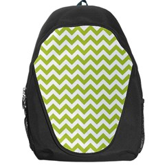 Spring Green And White Zigzag Pattern Backpack Bag by Zandiepants