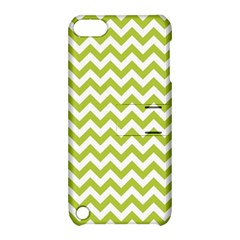 Spring Green And White Zigzag Pattern Apple Ipod Touch 5 Hardshell Case With Stand by Zandiepants