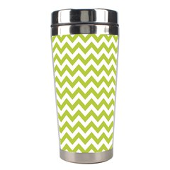 Spring Green And White Zigzag Pattern Stainless Steel Travel Tumbler by Zandiepants