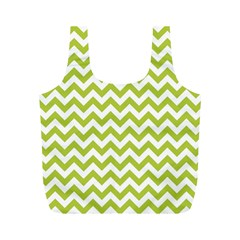 Spring Green And White Zigzag Pattern Reusable Bag (m) by Zandiepants