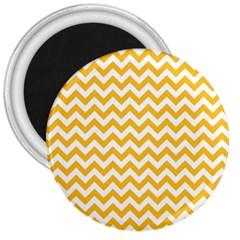 Sunny Yellow And White Zigzag Pattern 3  Button Magnet by Zandiepants