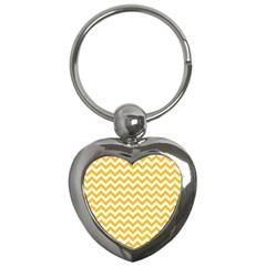 Sunny Yellow And White Zigzag Pattern Key Chain (heart) by Zandiepants