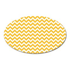 Sunny Yellow And White Zigzag Pattern Magnet (oval) by Zandiepants