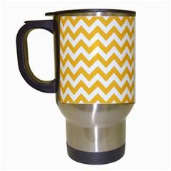 Sunny Yellow And White Zigzag Pattern Travel Mug (white) by Zandiepants