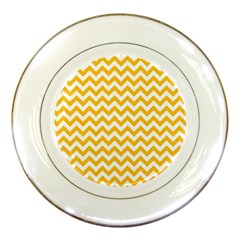 Sunny Yellow And White Zigzag Pattern Porcelain Display Plate by Zandiepants