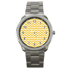 Sunny Yellow And White Zigzag Pattern Sport Metal Watch by Zandiepants