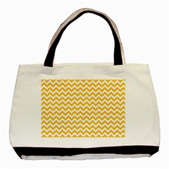 Sunny Yellow And White Zigzag Pattern Classic Tote Bag by Zandiepants