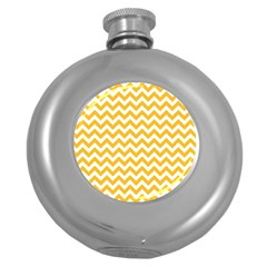 Sunny Yellow And White Zigzag Pattern Hip Flask (round)