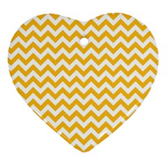 Sunny Yellow And White Zigzag Pattern Heart Ornament (two Sides) by Zandiepants