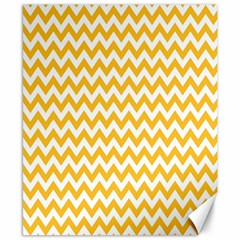 Sunny Yellow And White Zigzag Pattern Canvas 8  X 10  (unframed) by Zandiepants