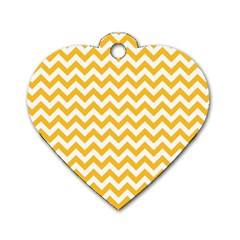 Sunny Yellow And White Zigzag Pattern Dog Tag Heart (one Sided)  by Zandiepants