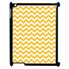 Sunny Yellow And White Zigzag Pattern Apple Ipad 2 Case (black) by Zandiepants