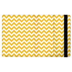 Sunny Yellow And White Zigzag Pattern Apple Ipad 3/4 Flip Case by Zandiepants