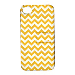 Sunny Yellow And White Zigzag Pattern Apple Iphone 4/4s Hardshell Case With Stand by Zandiepants