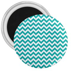 Turquoise And White Zigzag Pattern 3  Button Magnet by Zandiepants