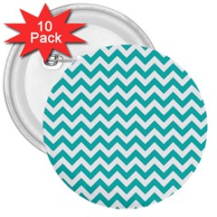 Turquoise And White Zigzag Pattern 3  Button (10 Pack) by Zandiepants