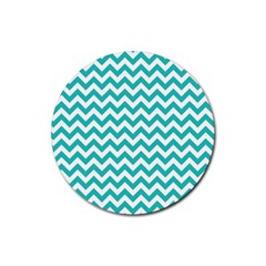 Turquoise And White Zigzag Pattern Drink Coasters 4 Pack (round) by Zandiepants