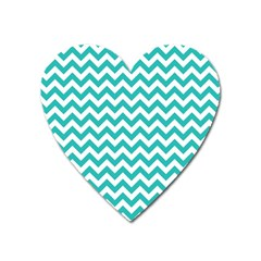 Turquoise And White Zigzag Pattern Magnet (heart) by Zandiepants