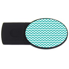 Turquoise And White Zigzag Pattern 2gb Usb Flash Drive (oval) by Zandiepants