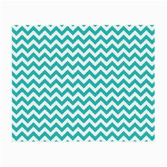 Turquoise And White Zigzag Pattern Glasses Cloth (Small) by Zandiepants