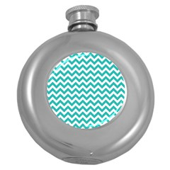 Turquoise And White Zigzag Pattern Hip Flask (round) by Zandiepants
