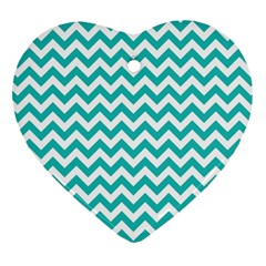 Turquoise And White Zigzag Pattern Heart Ornament (two Sides) by Zandiepants