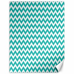 Turquoise And White Zigzag Pattern Canvas 12  X 16  (unframed) by Zandiepants
